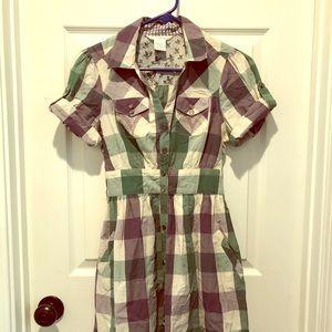 Plaid shirt dress, western / vintage details